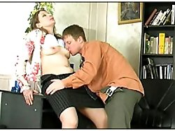 Nasty bitch in black skirt plays with guys' cock