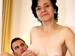 His old lover has saggy tits and a flabby bottom and she has his dick inside her hole