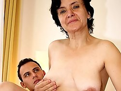 The sex is what really turns this granny slut on and his young cock will eventually cum on her