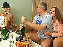 Nice and mature Sveta and Nata make sex party with horny Mich and have gropsex action
