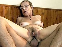 Grandma swallows a cumshot